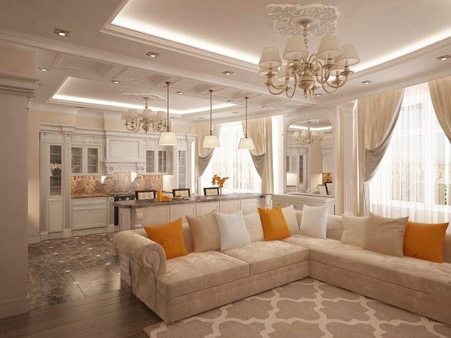 Бежевый диван декорированный подушками