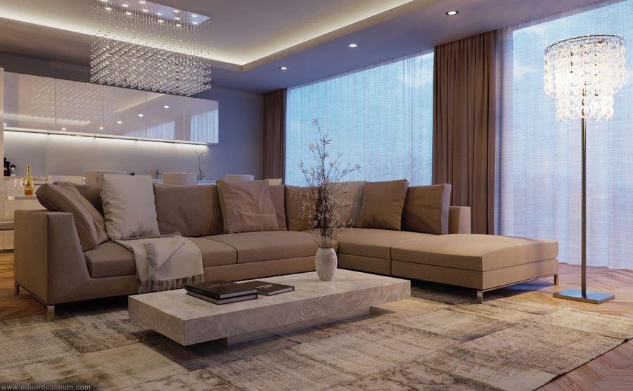Фото бежевого дивана в интерьере гостиной