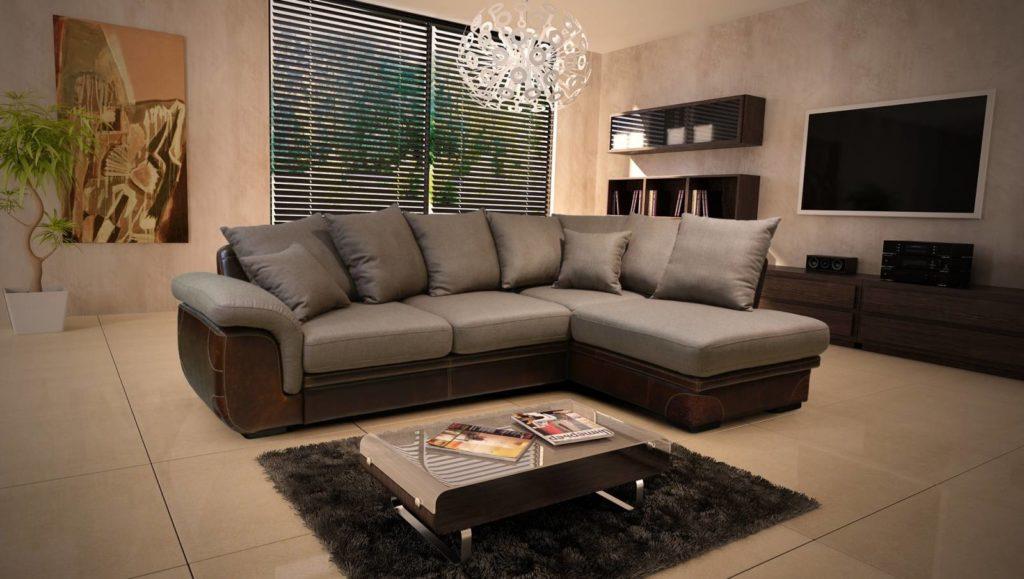 Раскладной угловой диван размещенный посреди комнаты