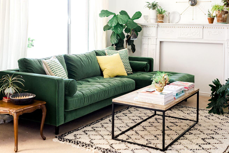 Зелёный диван правила сочетания в интерьере Фото
