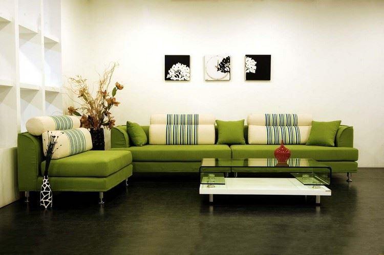 Модульный диван и кресло зелёного цвета