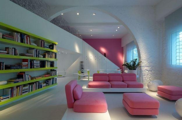 Интересный способ размещения дивана в интерьере (11)
