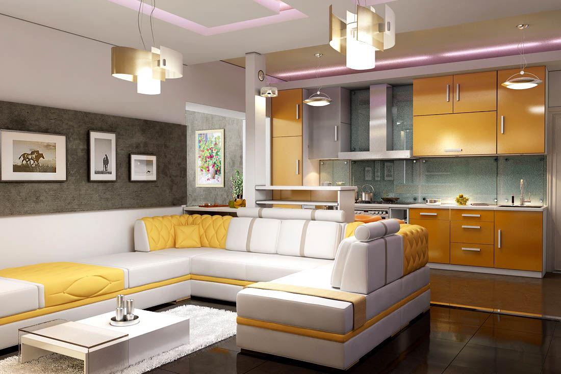 Кожаный диван в интерьере кухни (15)