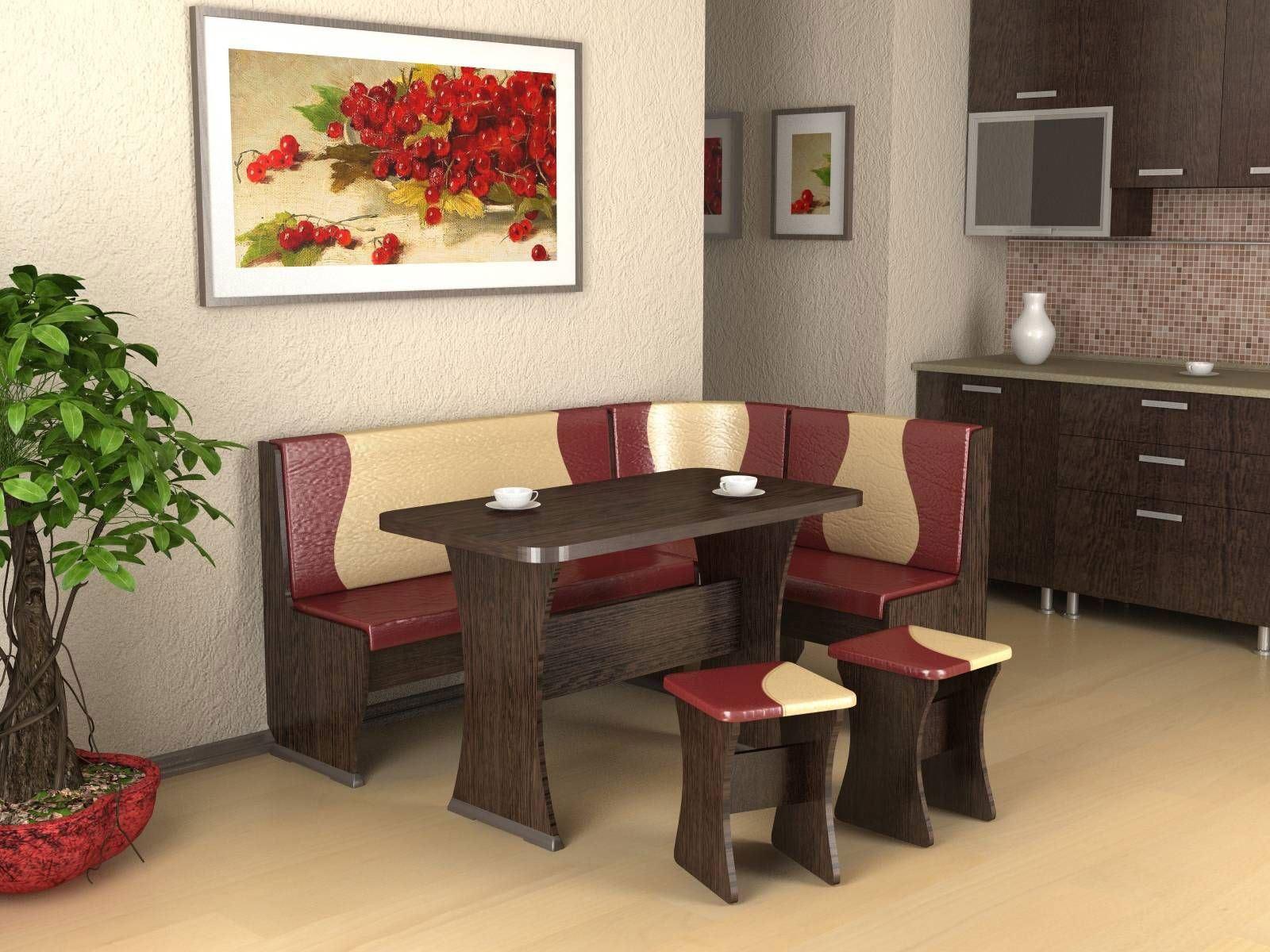 Кожаный диван в интерьере кухни (3)