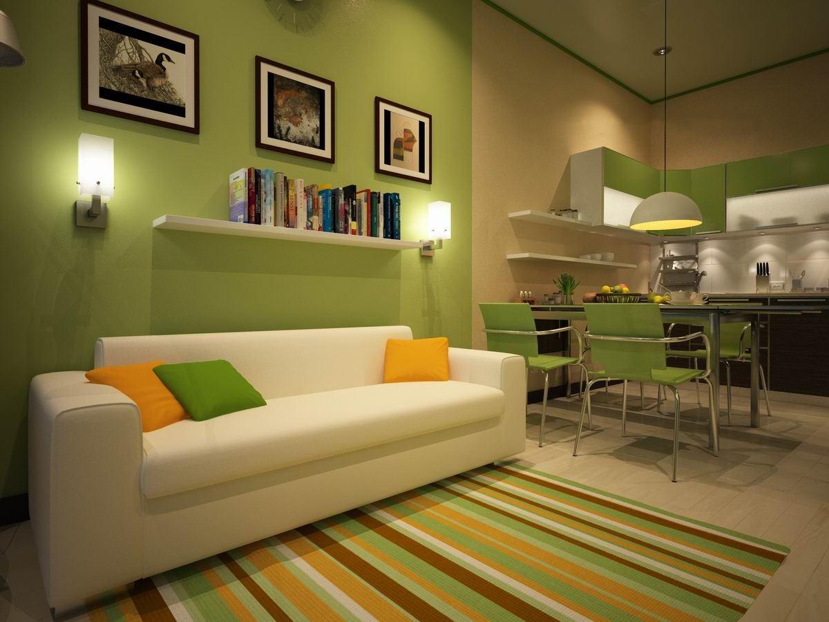Кожаный диван в интерьере кухни (4)