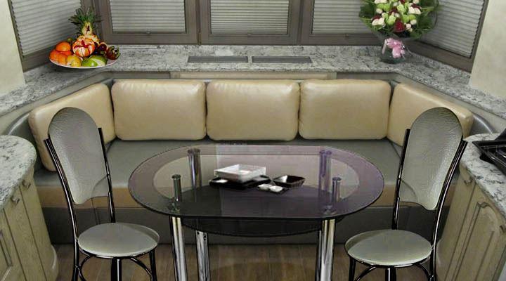 Кожаный диван в интерьере кухни (8)