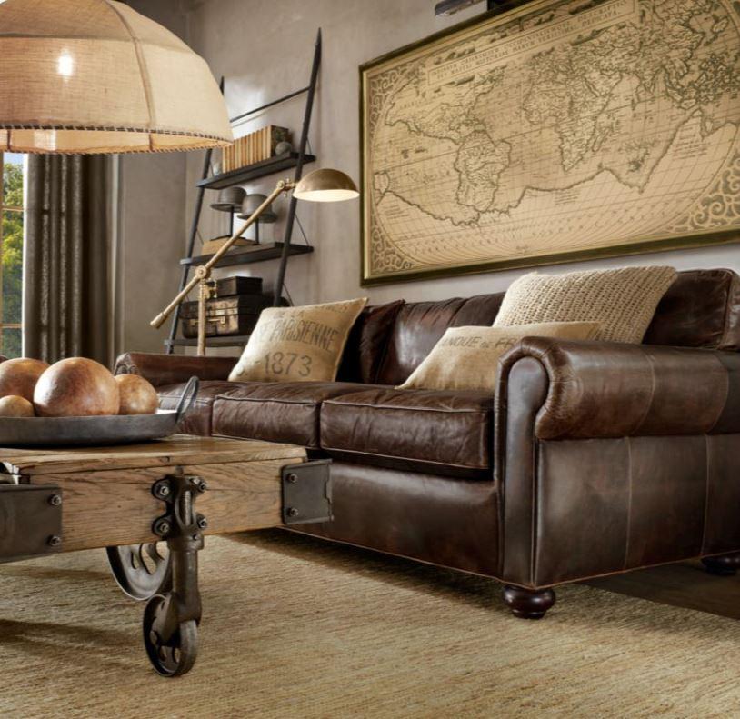 Коричневый диван в интерьере (1)
