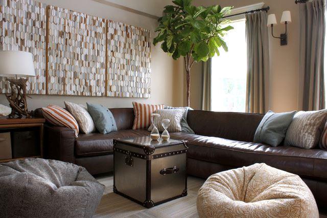 Коричневый диван в интерьере (11)