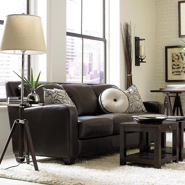 Коричневый диван в интерьере (14)