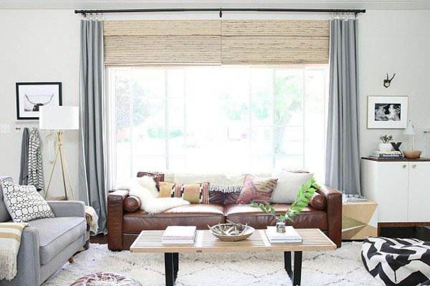 Коричневый диван в интерьере (20)