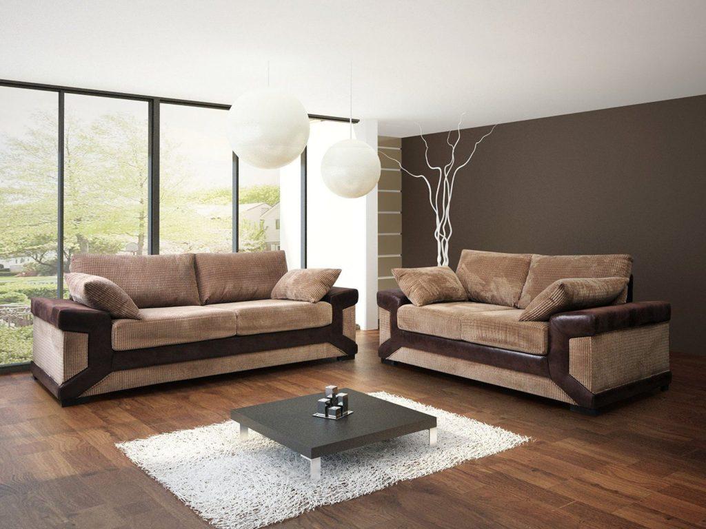 Два комбинированных дивана коричневого цвета
