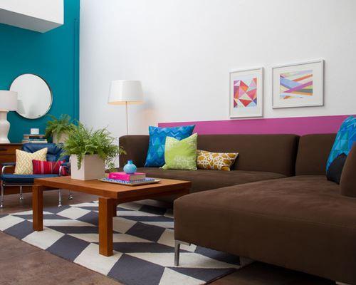 Коричневый диван в интерьере (25)