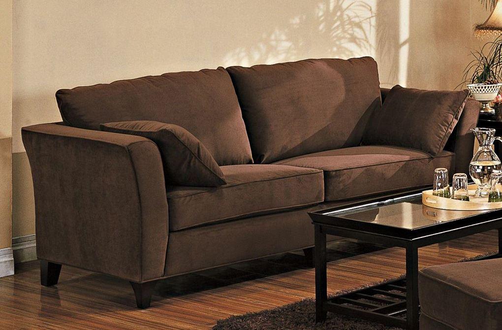 Коричневый диван в интерьере (29)