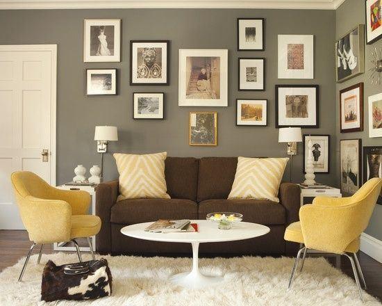 Коричневый диван в интерьере (3)