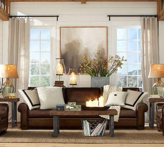 Коричневый диван в интерьере (32)