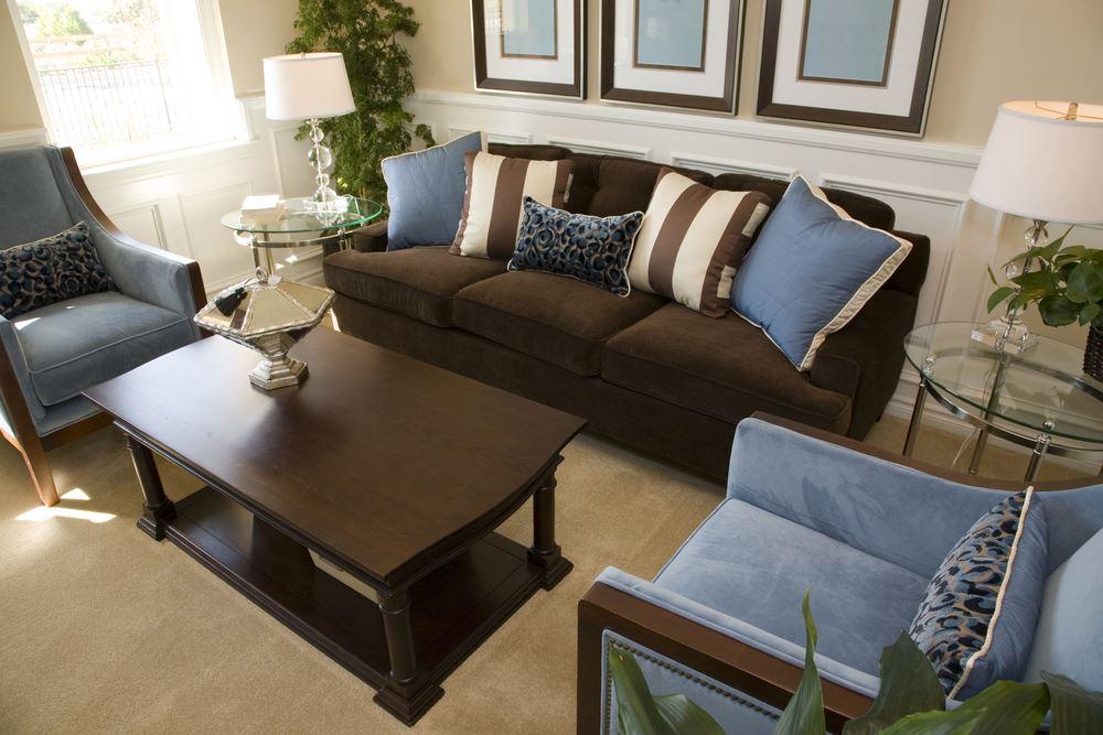 Коричневый диван в интерьере (34)