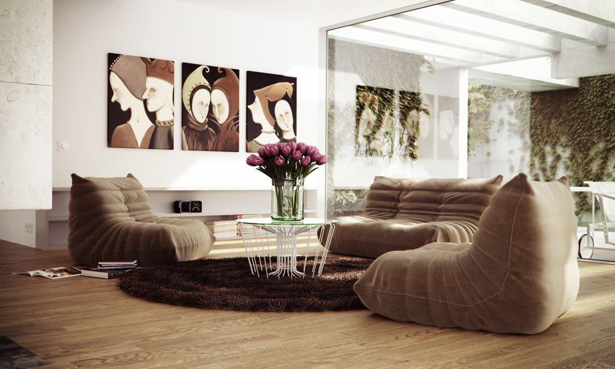 Коричневый диван в интерьере (39)