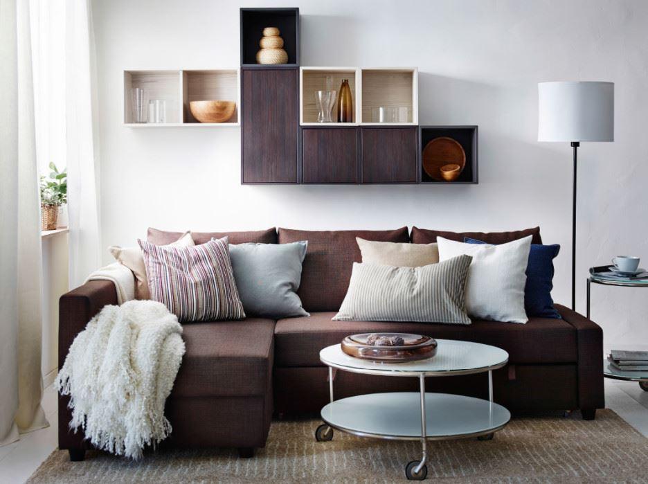 Коричневый диван в интерьере (49)