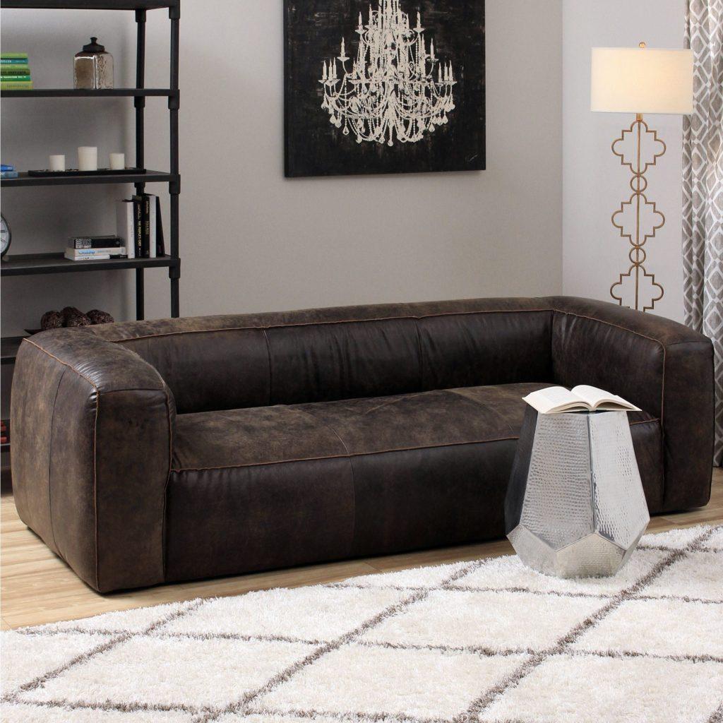 Прямой темно-коричневый диван