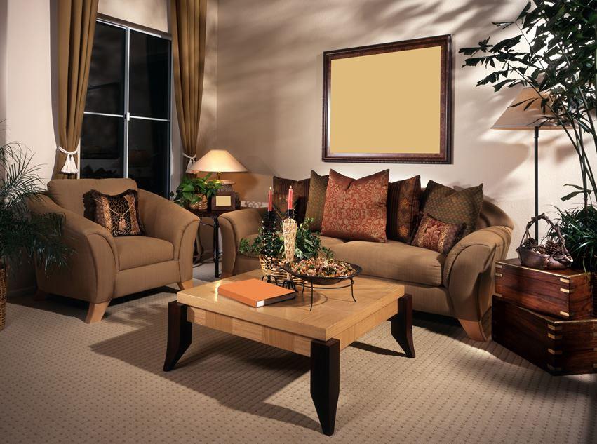 Коричневый диван в интерьере (61)