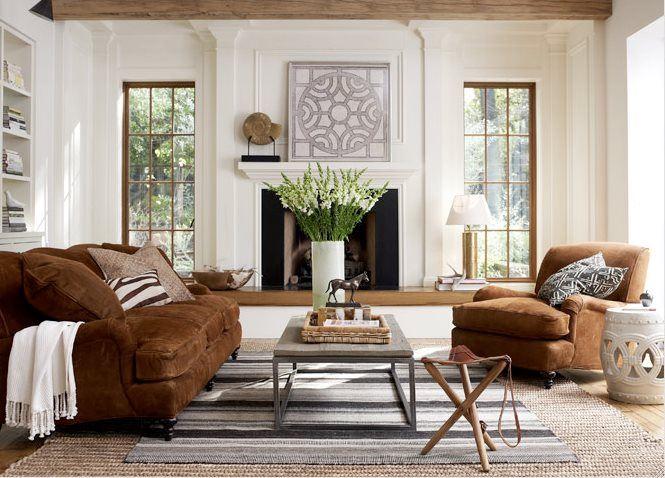 Коричневый диван в интерьере (7)