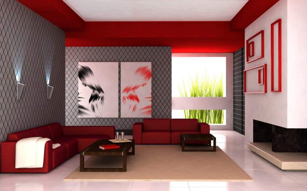 Дизайн комнаты с двумя красными диванами