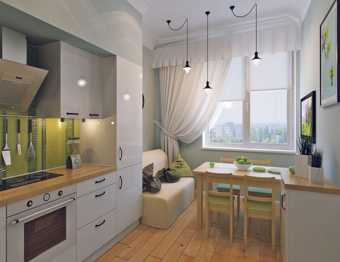 Кухня дизайн интерьер 10 кв метров с диваном.