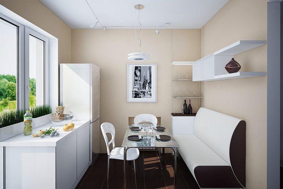 Маленький диван в интерьере кухни (10)