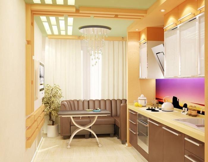 Маленький диван в интерьере кухни (11)