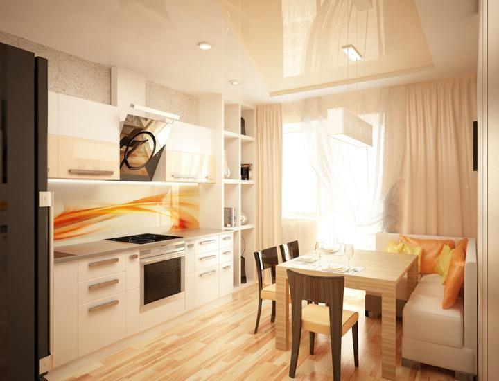 Маленький диван в интерьере кухни (6)