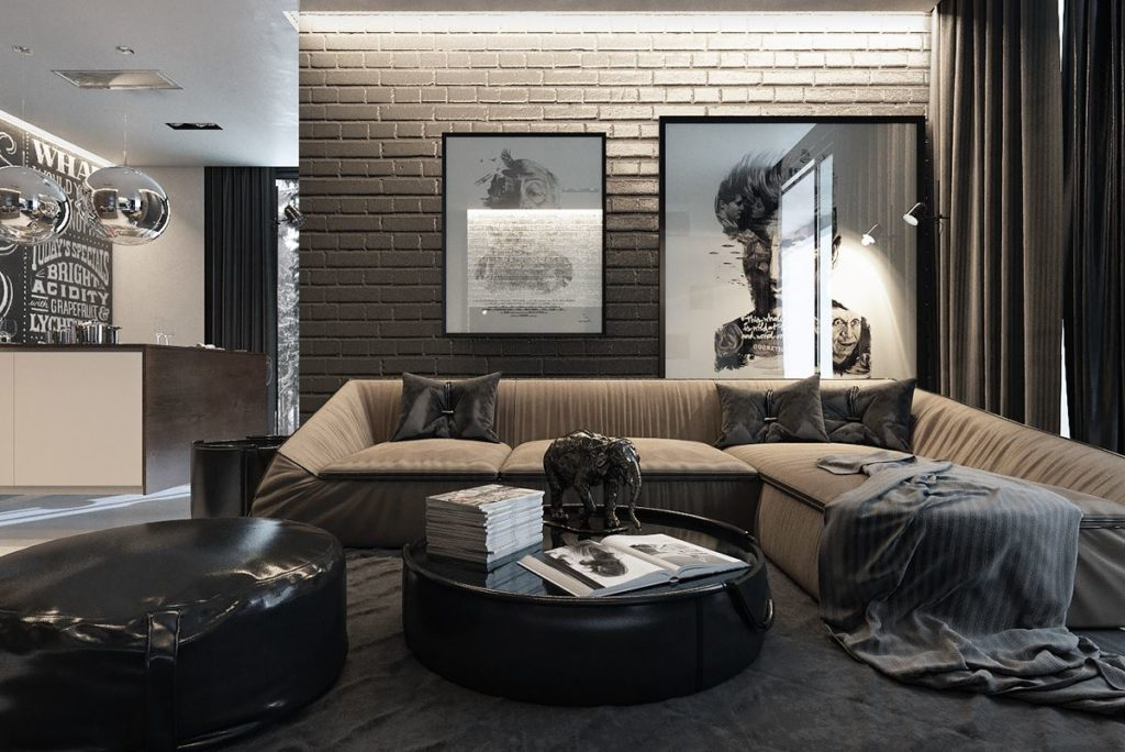 Угловой диван со спальным местом в маленькой гостиной