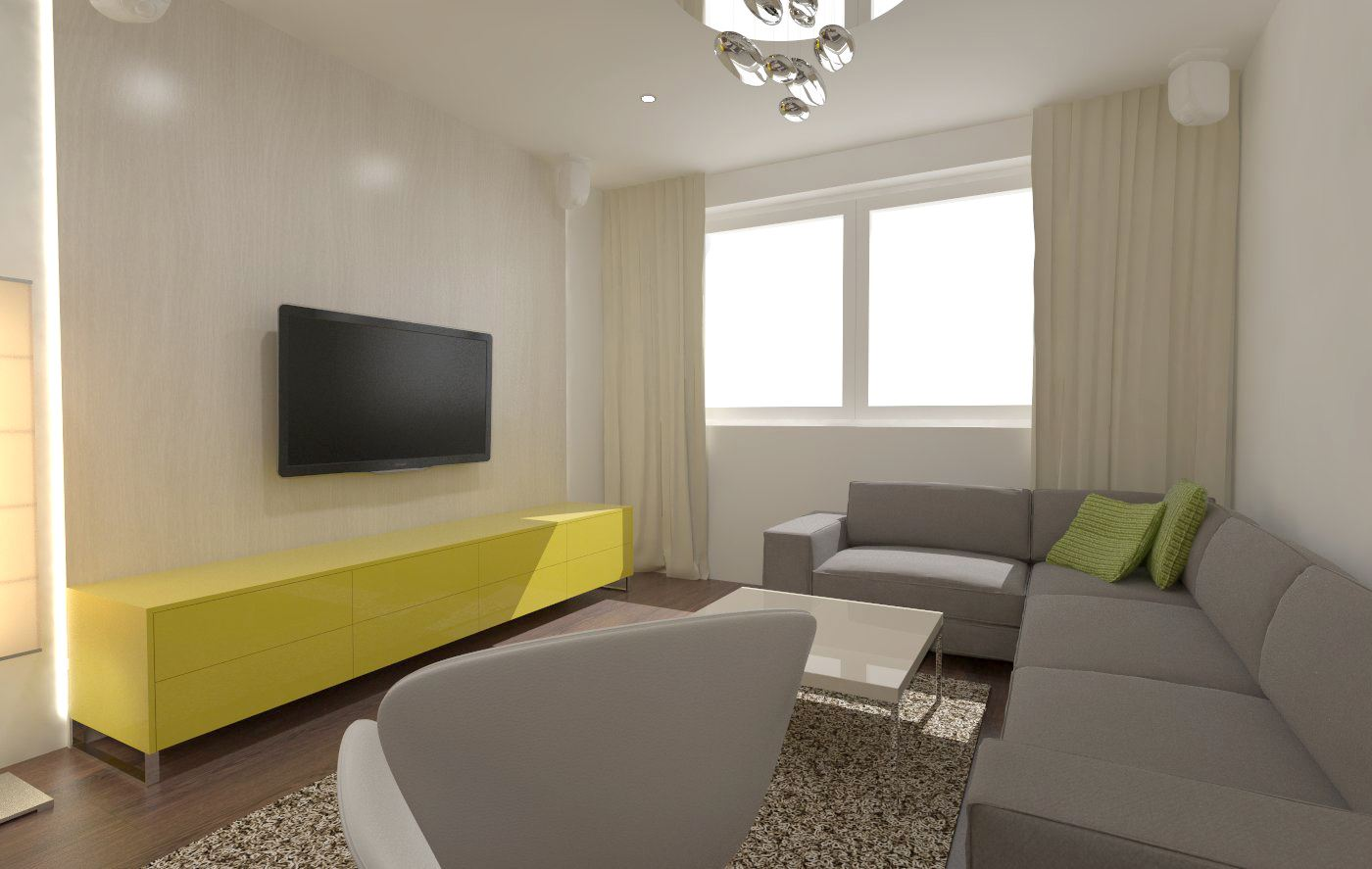 Угловой диван со спальным местом в гостиной (22)