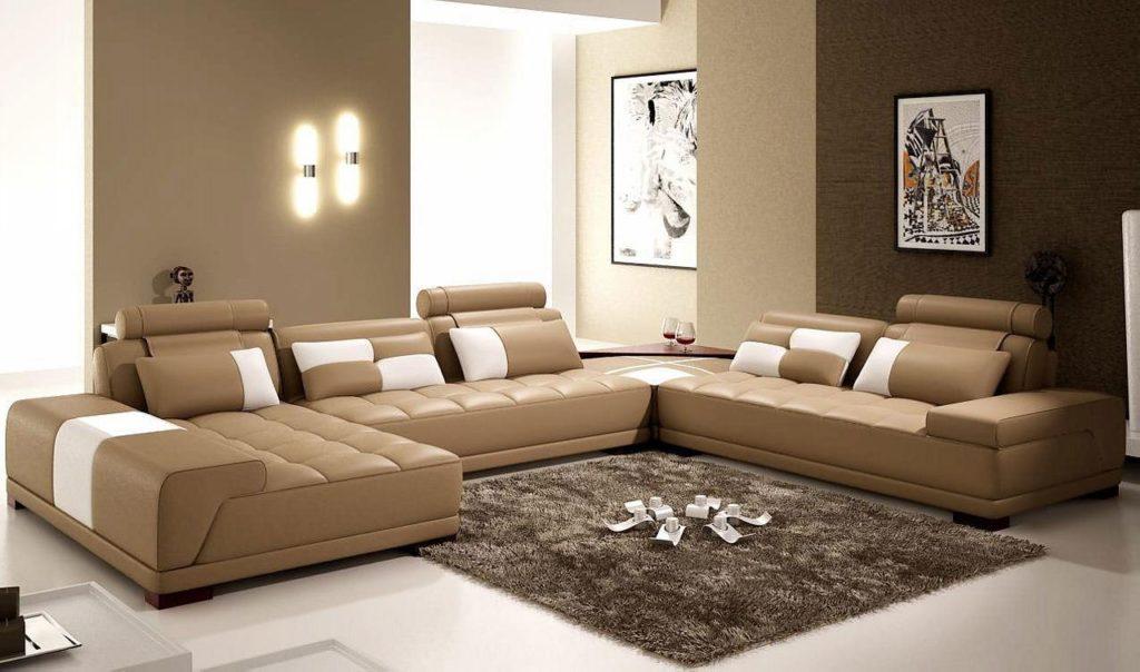 Фото кожаного раскладного дивана в гостиной
