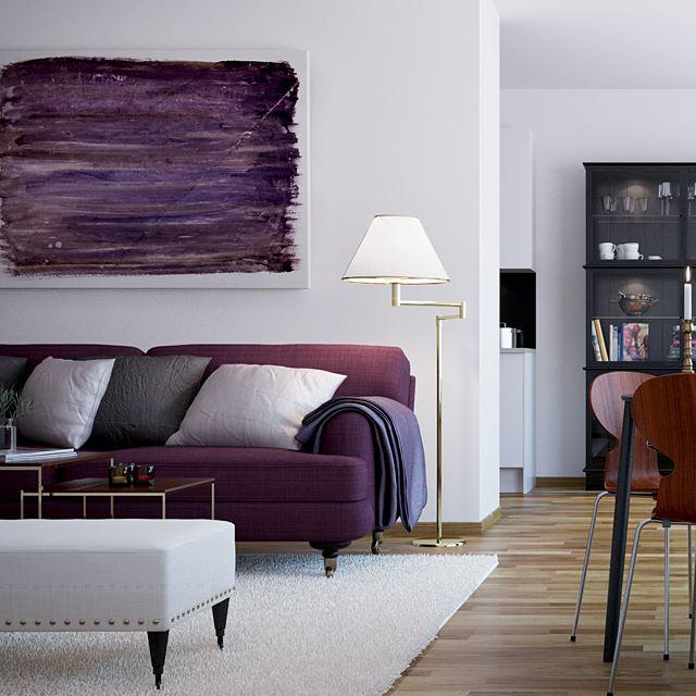 Фото дивана фиолетового цвета в интерьере