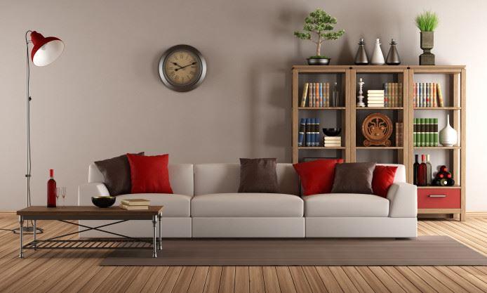 Размещение прямого дивана в центре комнаты