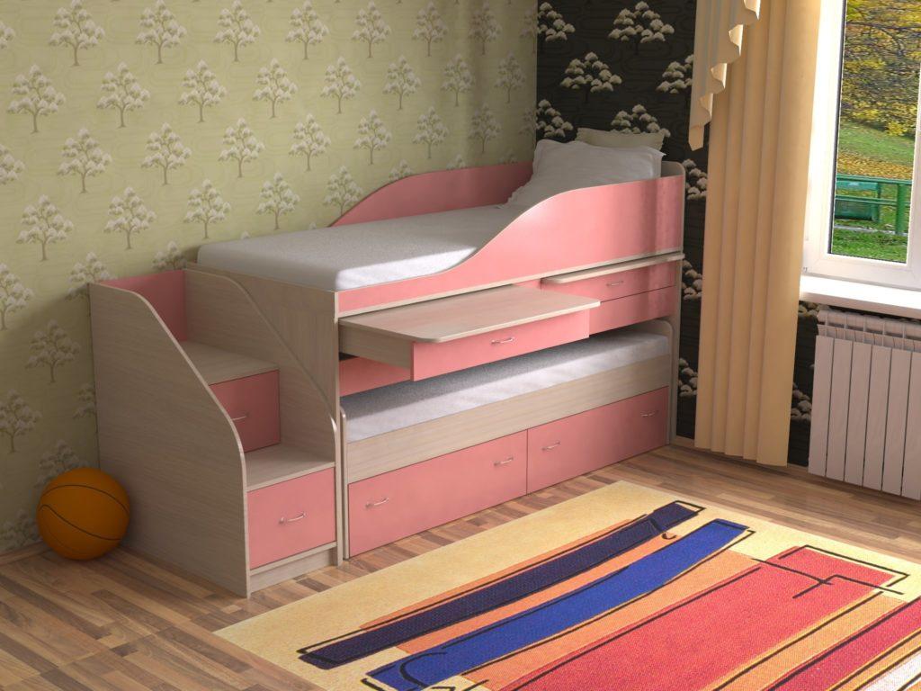 Двухъярусная кровать выдвижного типа для двоих маленьких детей