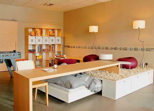Фото выдвижной кровати в интерьере