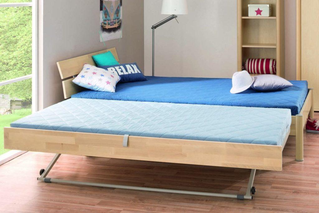 Кровать для двух детей с выкатным подъёмным спальным местом
