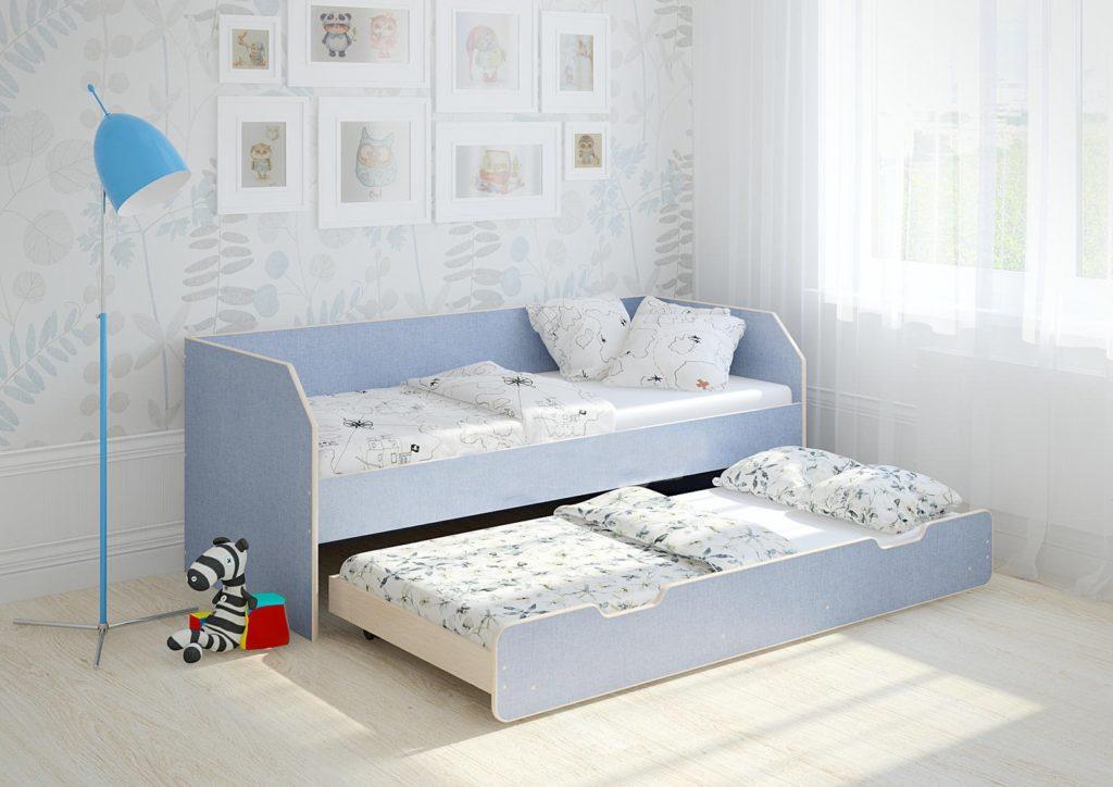 Кровать для двоих детей с независимым выкатным нижним спальным местом