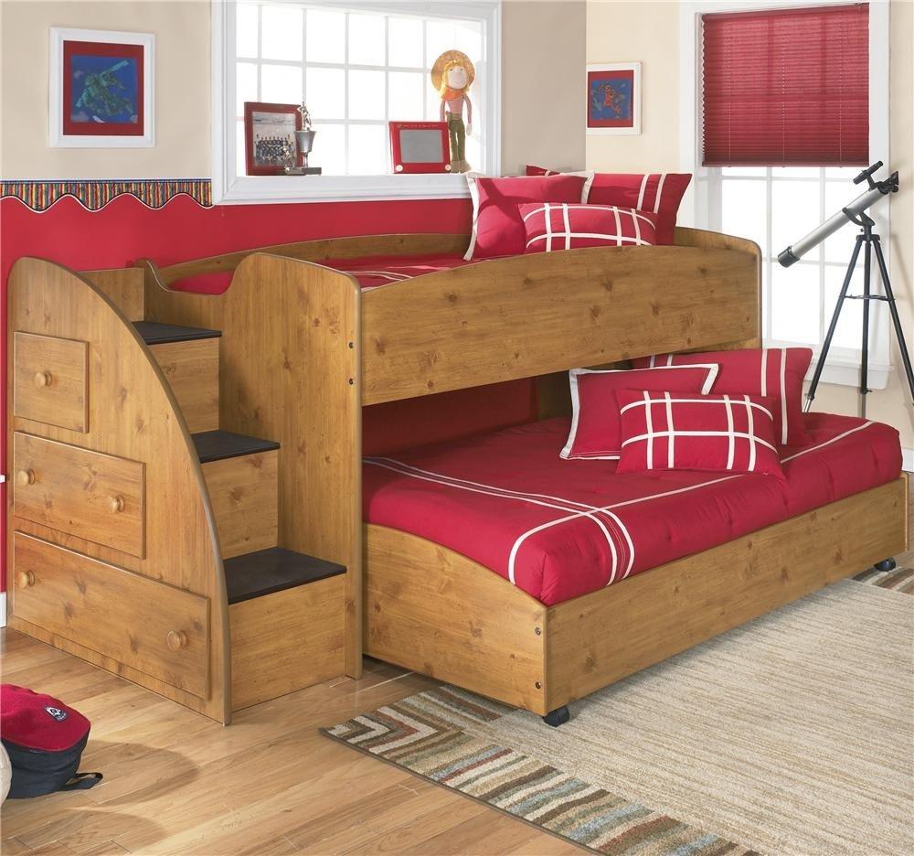 Двухъярусная выдвижная кровать со ступеньками и шкафчиками для двоих детей