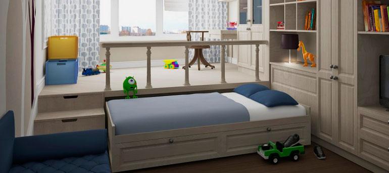Выдвижная кровать в детской комнате