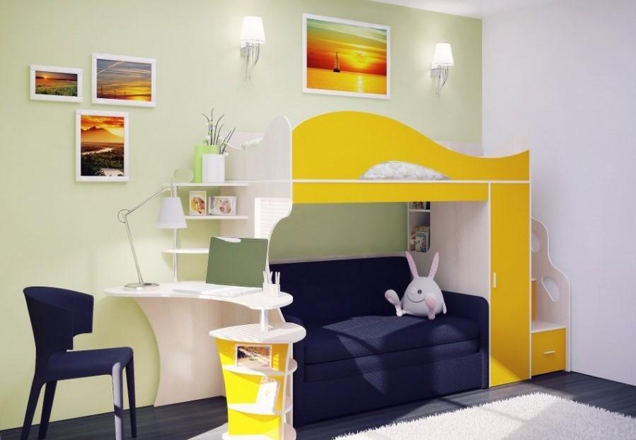 Двухъярусная кровать с диваном для детей