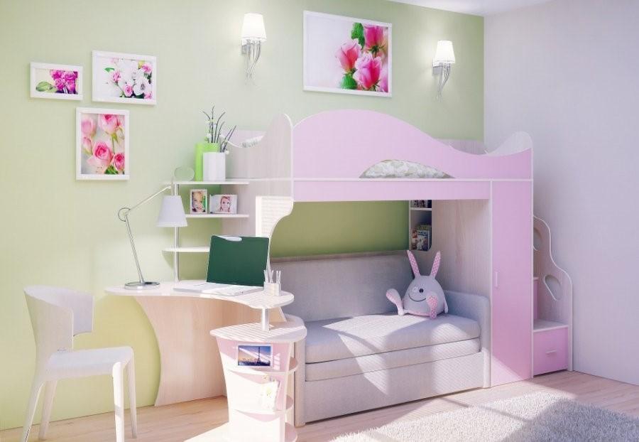 Кровать чердак с диваном внизу совмещенная со столом и полочками