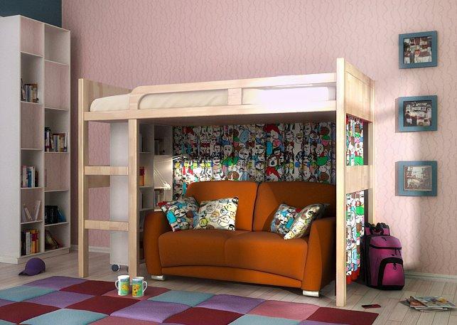 Кровать-чердак с прямым диваном внизу в интерьере детской комнаты