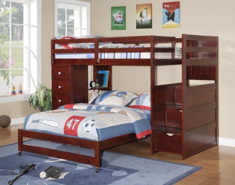 Двухъярусная кровать для детей с диваном внизу (19)