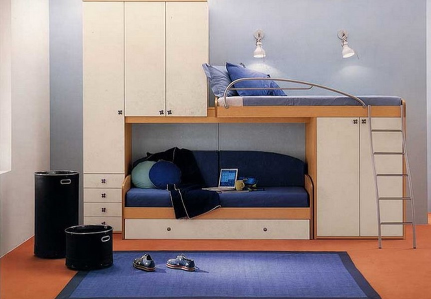 Двухъярусная кровать для детей с диваном внизу (2)