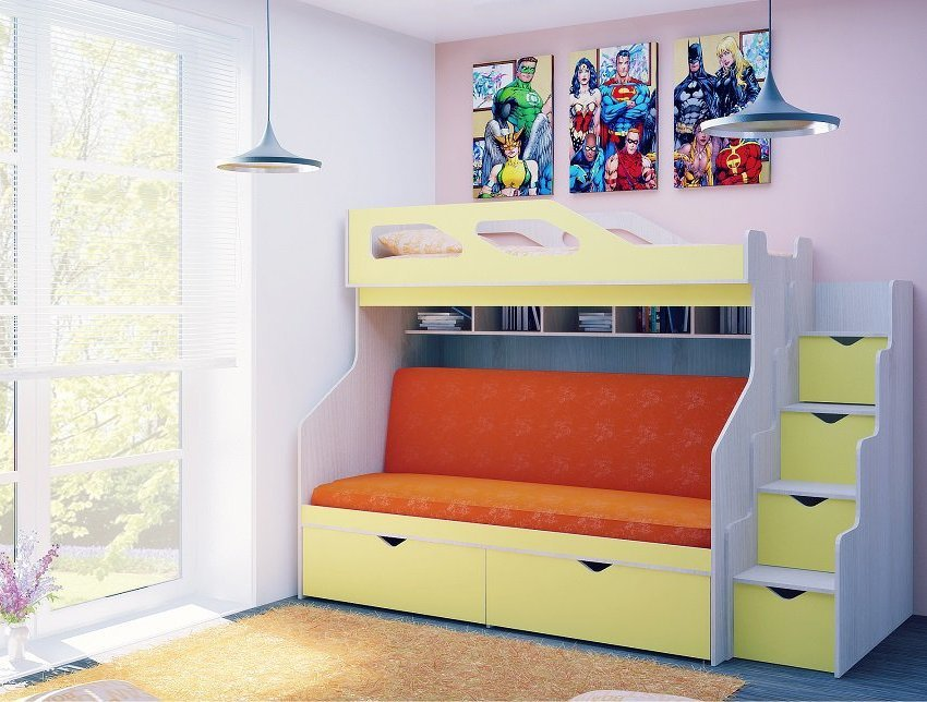 Двухъярусная кровать для детей с диваном внизу (20)