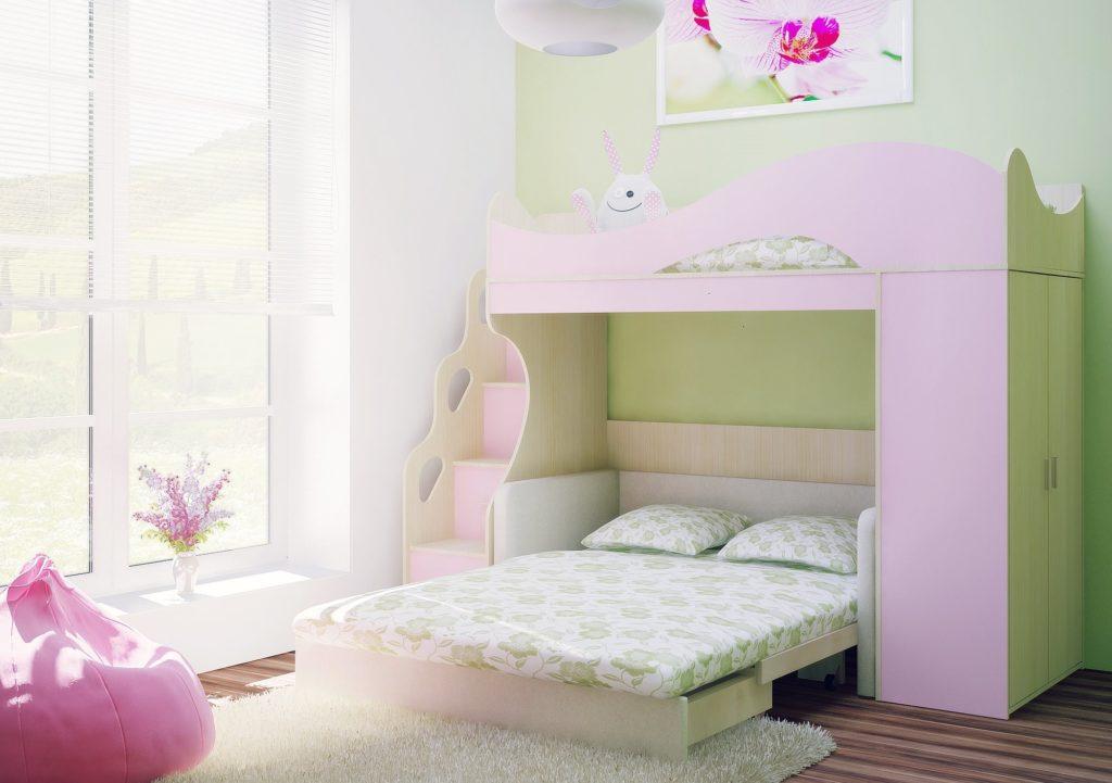 Большой диван-кровать под двухъярусной кроватью в детской комнате