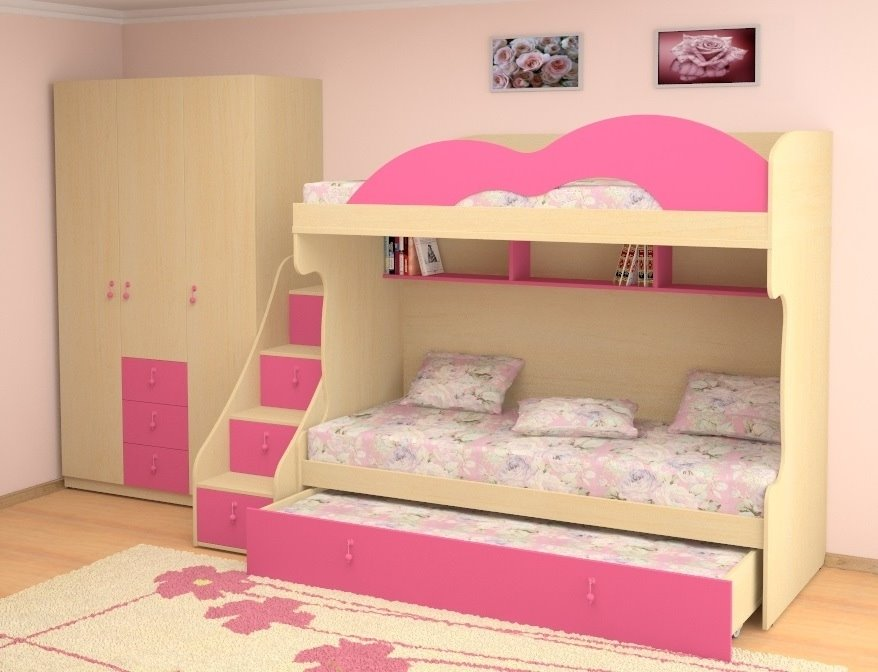 Двухъярусная кровать для детей с диваном внизу (23)