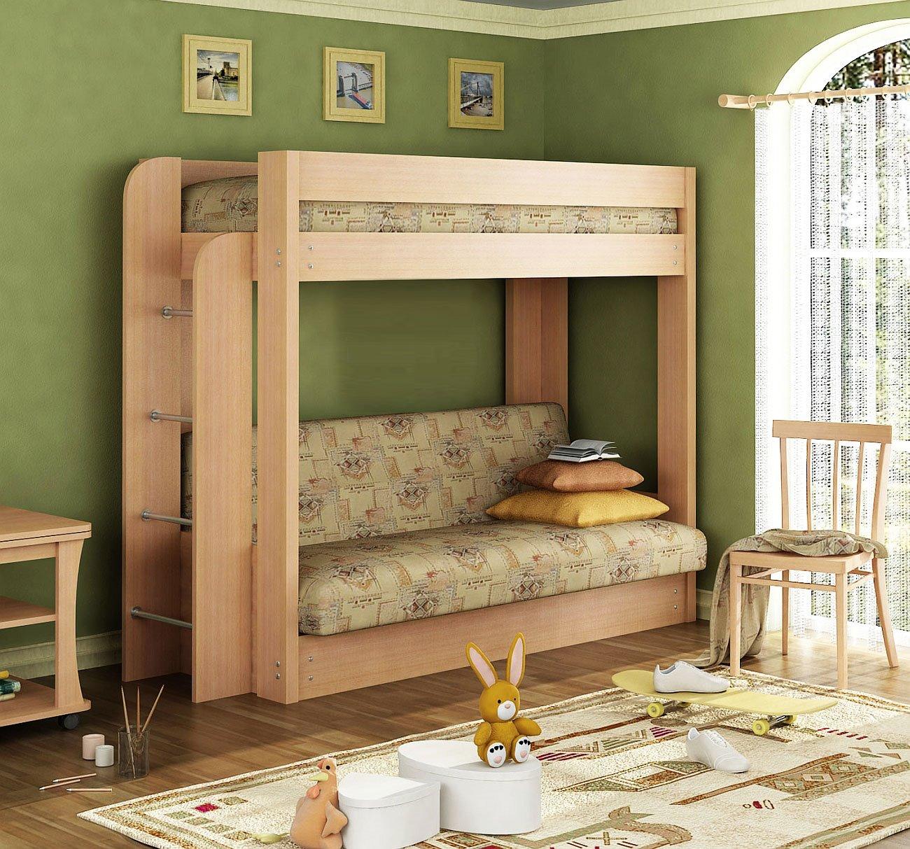Двухъярусная кровать для детей с диваном внизу (24)